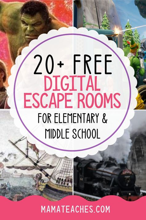Give your students a taste of adventure with over 20 free digital escape rooms to try at home or at school. Doing distance learning? Escape Room For Kids, 6th Grade Ela, States Of Matter, Virtual Field Trips, Activities For Kids, Stem Activities, Library Activities, Spelling Activities, Halloween Activities