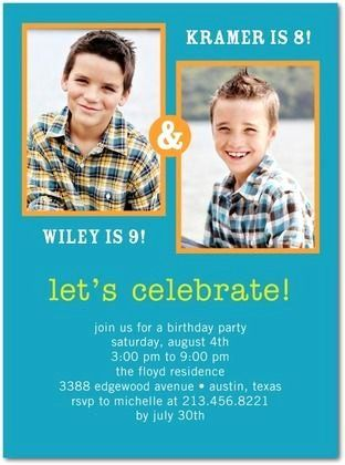Print Your Own Joint Birthday- Blue Orange and Yellow Invite Brothers shared party Invitation DOUBLE BIRTHDAY Invitation for boys