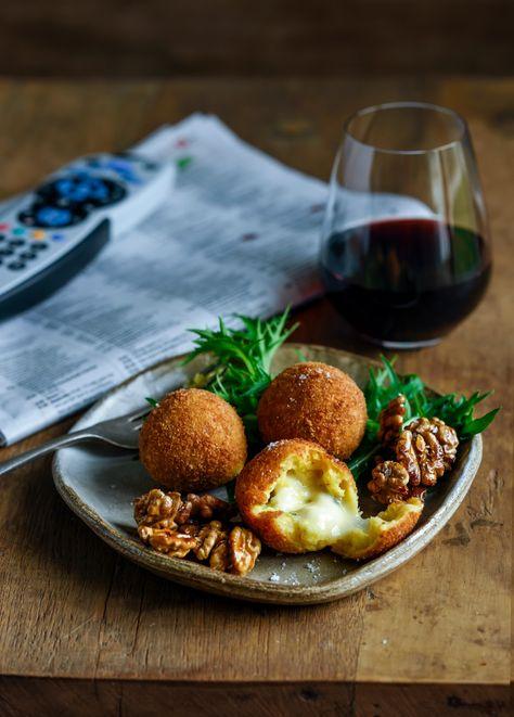 Sweet Potato & Blue Cheese Balls with Honey Toasted Walnuts Walnuts