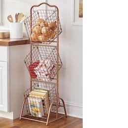 Wire 3 Basket Stand Paper Towel Holder Bedroom Storage Shoe Storage Solutions