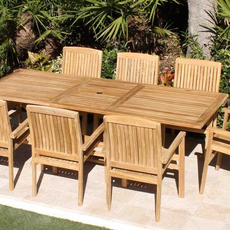95in Rectangular Table 8 Pacific Chairs Teak Set Outdoor Patio Furniture Outdoor Patio Rectangular Table
