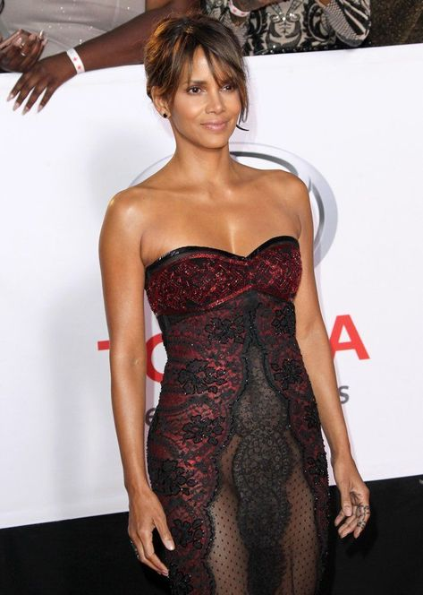 Halle Berry almost nude dress
