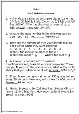 Test Your Fifth-Grader With These Math Word Problem Worksheets ...