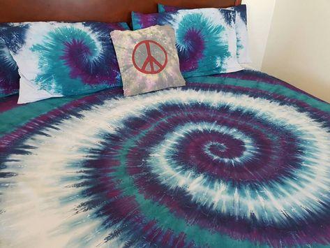 c7abdc2fb46d Bohemian, Tie Dye, Spiral, Tie Dye Swirl, Tie dye Bedding, Duvet Cover Set,  Doona, Sheet Set, Quilt, Rainbow, Mermaid, Purple, Navy Blue