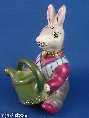 Limoges France Bunny Rabbit with Watering Can Trinket Box