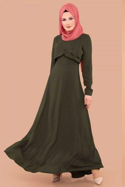 Modaselvim Bugune Ozel Kruvaze Detay Elbise 2650 Ln330 S Haki Dresses High Neck Dress Neck Dress