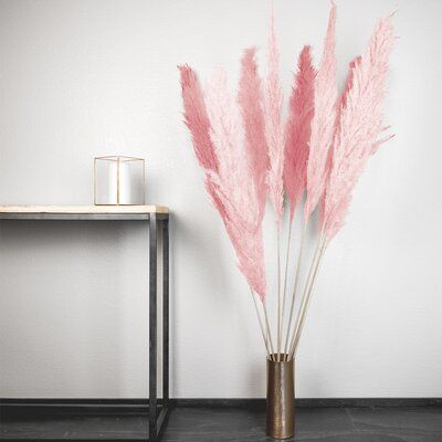 Everly Quinn Pampas Grass Spray Leaves Colour Pink In 2020 Pink Pampas Grass Pampas Grass Decor Grass Decor