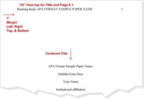 Title APA Format Cover Page APA Pinterest Apa format example - apa format template