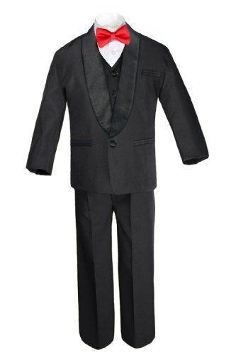6pc Boy Kids Teen White Formal Wedding Party Suits Tuxedo Satin Necktie sz 8-20