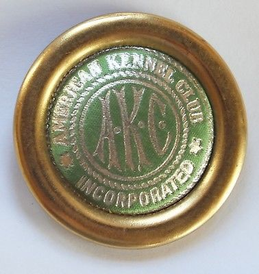 Green American Kennel Club Akc Vintage Buttons Badges Pins Brass