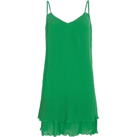 f371586ab20f River Island Green pleated strappy slip dress ($84) ❤ liked on Polyvore  featuring dresses, green, slip & cami dresses, women, cami slip, green  camisole, ...
