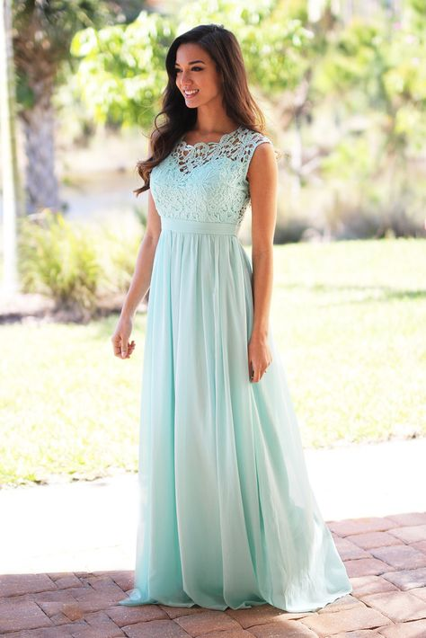 If I could find this in the right color, this dress would be perfect for Marina & Madison. Mint Crochet Maxi Dress with Tulle Back