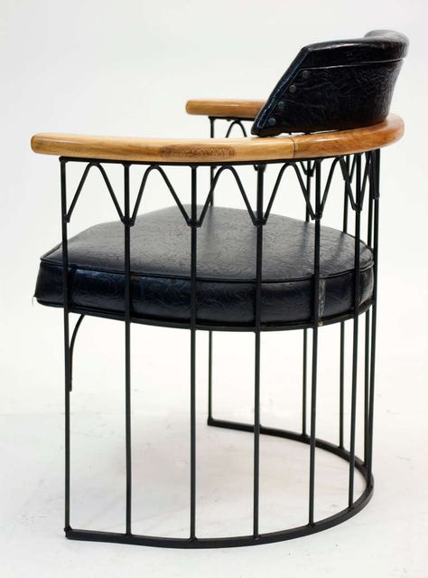 Russell Woodard Enameled Iron And Wood Armchair C1960 Iron