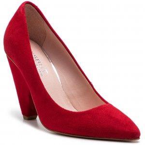 Polbuty Eksbut 19 5489 M20 1g Czerwony Welur Heels Pumps Shoes