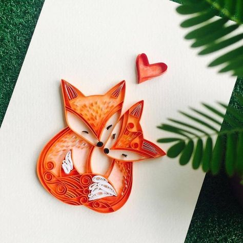 Red Foxes. Paper Quilling Art Designs. By Wing.