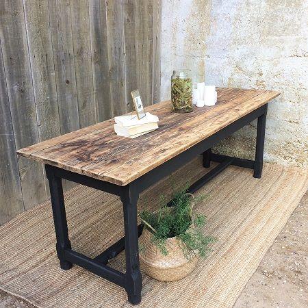 Table De Ferme Ancienne Pietement Peint En Noir Plateau Bois Brut 2m Table De Ferme En Bois Table A Table De Ferme Table De Ferme Ancienne Table Bois Brut