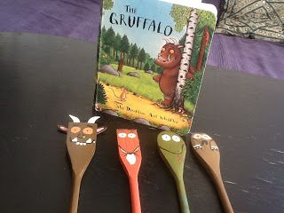 "How fab are these wooden spoon Gruffalo puppets?! ("",)"