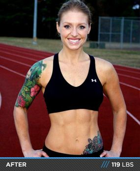 """This is probably my favorite """"Transformation of the Week"""" on bodybuilding.com; she includes an achievable/realistic meal plan (not just """"eggs every meal"""" etc. like other women), and has the balanced/cute/muscular body I'm aiming for! Definitely inspiring."""