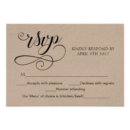 Swirl Typography Rsvp Script Response Card Rustic Script Gifts Template Templates Diy Cu Response Cards Wedding Response Cards Rustic Wedding Invitation Card