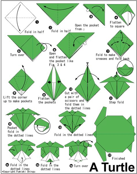 How to Do Origami   How to make origami turtle instructions. Easy and advanced origami ...