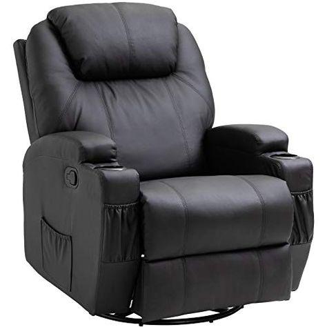 Homcom Fauteuil De Massage Relaxation Electrique Chauffant Inclinable Pivotant 360 Avec Repose Pied Ajus Fauteuil De Massage Canape Inclinable Fauteuil Massant