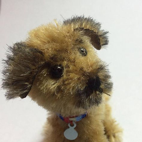 Border Terrier Ooak Miniature Mohair Puppy Dog Sitting With