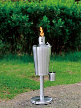 Decorative Modern Style Stainless Steel Garden Oil Lamp Tiki Torch