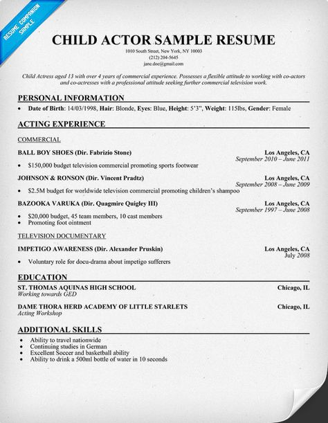 BAY AREA CHILD ACTORS TV FILM SUMMER ACADEMY at BAY AREA ACTING - actor sample resume