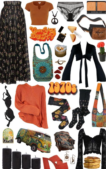 Discover outfit ideas for Inspired Spring Trend made with the shoplook outfit maker. 70s Outfits, Hippie Outfits, Vintage Outfits, Cute Outfits, Fashion Outfits, Vintage Clothes 70s, Hippie Style Clothing, 70s Inspired Fashion, 70s Fashion