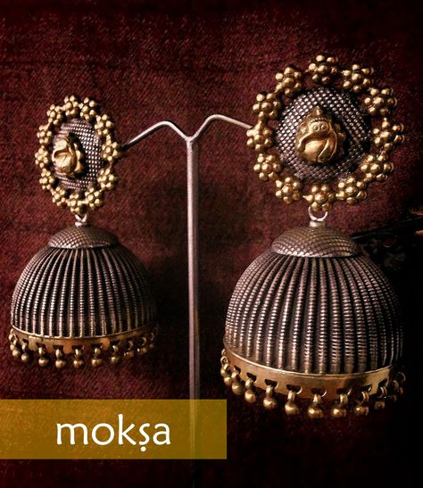 Antique Silver Jhumkas