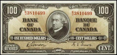 1937 Canadian 100 Dollar Bill 100 Dollar Bill Dollar Bill Canadian Money