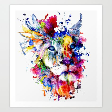 Lion Watercolor Abstract Animal Colors Creative Wall Art