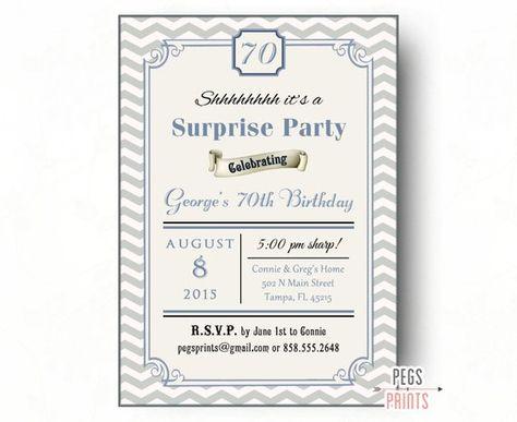 5419d2fe92b Male Surprise Birthday Invitation (Printable) Surprise Birthday Party  Invitations for Men - Surprise