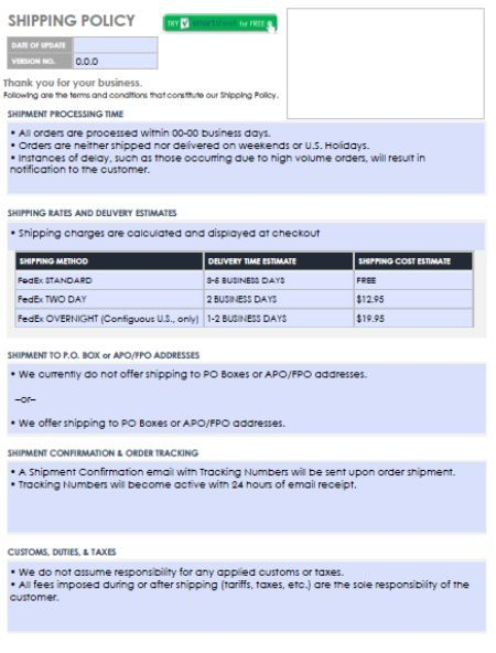 Shipping Policy Template Policy Template Templates Business Traffic