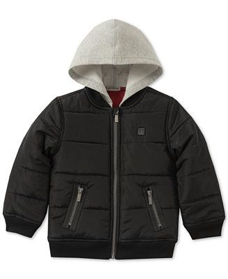 a7e7f5e37 Shop Calvin Klein Baby Boys Layered-Look Hooded Bomber Jacket online ...