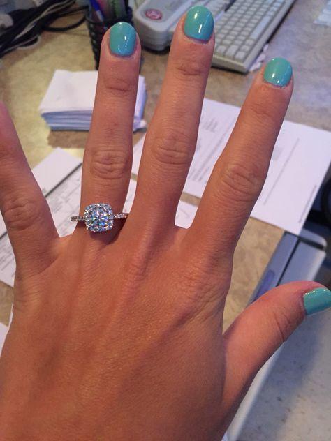 1 carat Radiant Cut Diamond Halo Engagement Ring