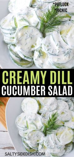 Light and Fresh Cucumber Salad with dill and sour cream, is a delicious low carb and keto friendly spring salad. Enjoy this refreshing and creamy salad in under 10 minutes with very little effort and ingredients you likely already have in your fridge. Dill Recipes, Cucumber Recipes, Low Carb Recipes, Cooking Recipes, Healthy Recipes, Easy Creamy Cucumber Salad Recipe, Creamed Cucumber Salad, Creamed Cucumbers, Spinach Salads