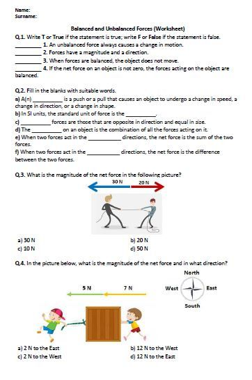 Distance Learning Balanced And Unbalanced Forces Worksheet
