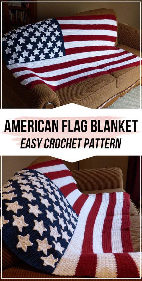 Crochet American Flag Blanket FREE Pattern - easy crochet Blanket pattern for be. Crochet American Flag Blanket FREE Pattern – easy crochet Blanket pattern for beginners