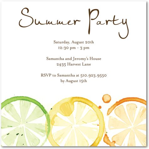 Cute 'Summer Party' Invitations