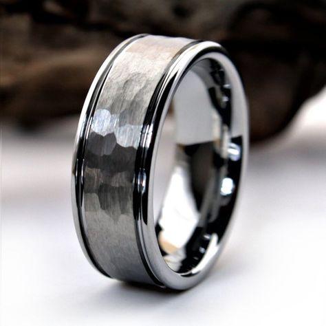 Silver Wedding Bands, Cool Wedding Rings, Mens Silver Rings, Wedding Ring Bands, Unique Mens Wedding Bands, Mens Wedding Rings Tungsten, Tungsten Carbide Rings, Rustic Engagement Rings, Groom Ring