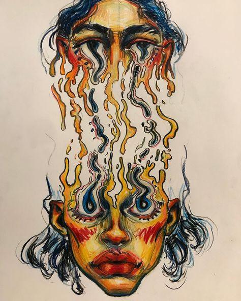 Trippy art drawing ideas ideas for 2019 Kunst Inspo, Art Inspo, Art Sketches, Art Drawings, Trippy Drawings, Dope Kunst, Arte Sketchbook, A Level Art, Hippie Art