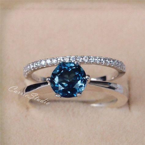 6 5 Mm Natural London Blue Topaz Ring Set 6 Claws Topaz Engagement Ring Set Wedding Ring Set Silver Gemstone Ring Anniversary Ring Set Silver Wedding Rings Silver Ring Designs Blue Topaz Ring