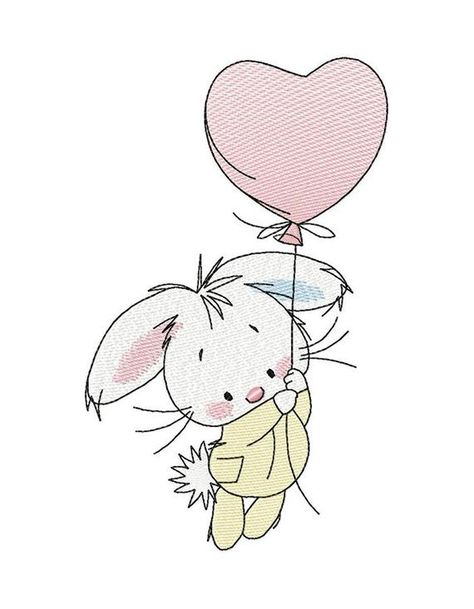 Bunny with ball_Machine Embroidery Design, Embroidery Bunny, Kids design, Embroidery cute Bunny    4