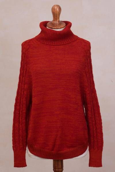 Unicef Market Knit Red Baby Alpaca Turtleneck Sweater From Peru Holiday Warmth In Red Sweaters Alpaca Sweater Baby Alpaca