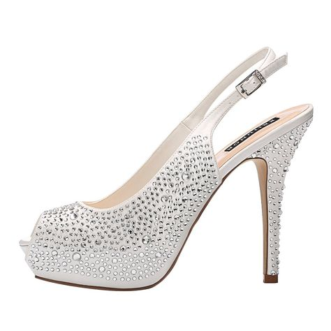 a55d831a0537 ERIJUNOR E1425 Women High Heel Peep Toe Rhinestones Platform Pumps Wedding  Evening Dress Shoes Ivory Size 7   Continue to the product at the image  link.