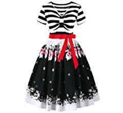 Whshine Damen Plus Size Kleid Weihnachtsfeier Kleid Vintage Swing Skaterkleid Weihnachtskleid Langarm Rockabilly K Festliche Kleider Party Kleider Skater Kleid
