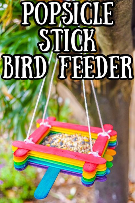 Looking for a fun craft stick craft, then we have you covered with this fun popsicle stick bird feeder. Great Spring Kids Craft or Kids Camping Craft. Camping Crafts For Kids, Summer Crafts For Kids, Fun Crafts For Kids, Craft Activities For Kids, Toddler Crafts, Craft Stick Crafts, Preschool Crafts, Projects For Kids, Diy For Kids