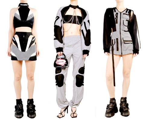 butterflies and hurricanes : fashion-runways: NAMILIA Collection 2019/2020 if... Kpop Outfits, Girl Outfits, Cute Outfits, Fashion Outfits, Funky Fashion, Womens Fashion, Cyberpunk Clothes, Conceptual Fashion, Character Outfits