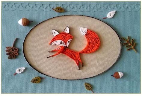 Quilling Card with a little fox, Rusty the Fox, Quilled animal, Quilled Fox, Birthday card, Paper Gi